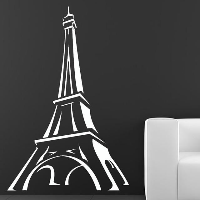 Promoção Torre Eiffel De Paris Decalque Da Parede Dos Desenhos Animados  Etiqueta Wall Decor Sala De