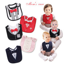 2019 New Fashion 4 Layers Waterproof Baby Boy Tuxedo Bibs Newborn Dinner Feeding Bib Saliva Towel Baby Red Bow Tie Gentleman Bib(China)
