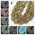 14 unids strand Natural Cuentas de Collar de Titanio Ágata Druzy Losa, Perforado Primas Drusy Geode Granos Ovales Planos Colgante 10x14mm, más color