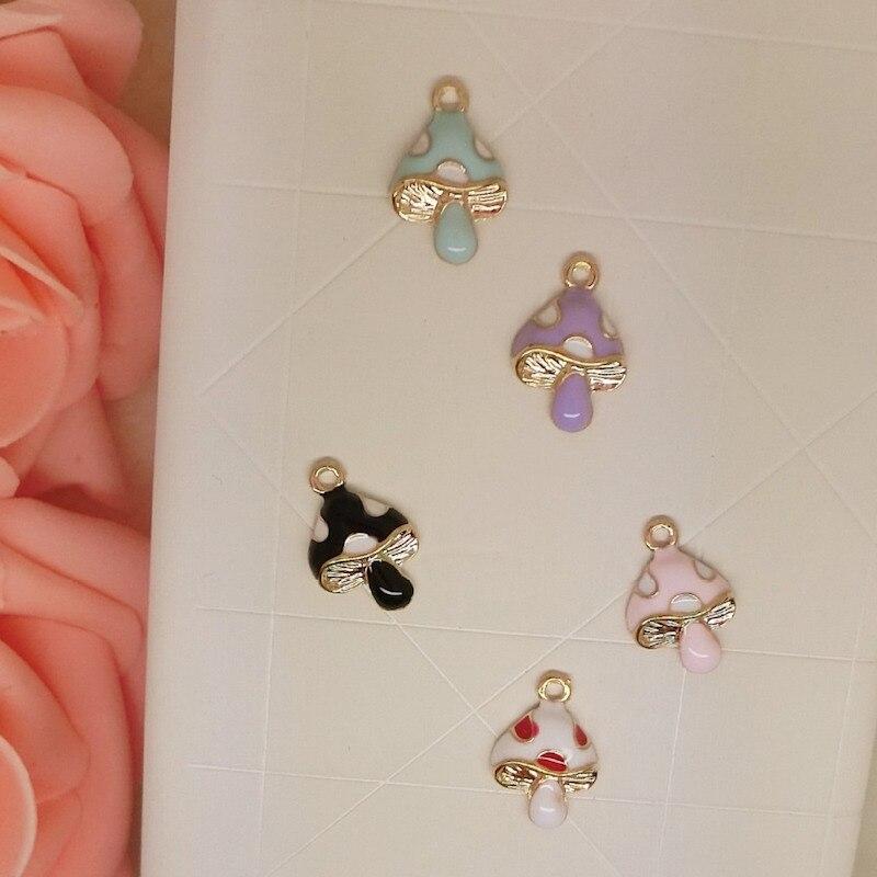 10pcs/lot colorful mushroom size 11*16mm pendant alloy enamel Charm DIY accessories of necklace bracelet headdress