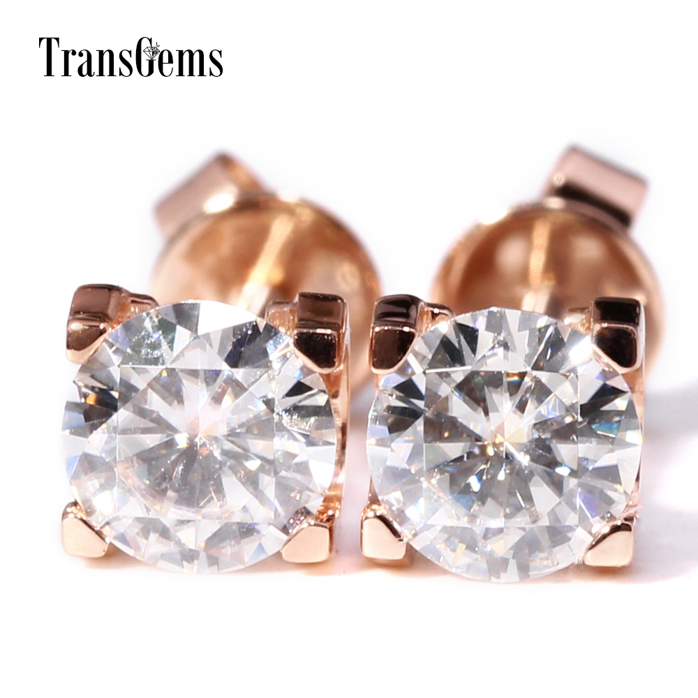 Transgems Solid 14K 585 Rose Gold Center 1ct F Color Moissanite Stud Earrings Screw Back for Women Wedding Jewelry 2CTW