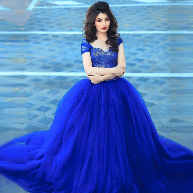 Royal Blue Ball Gown Wedding Dress 2016 Cap Sleeve Long Bridal Gowns ...