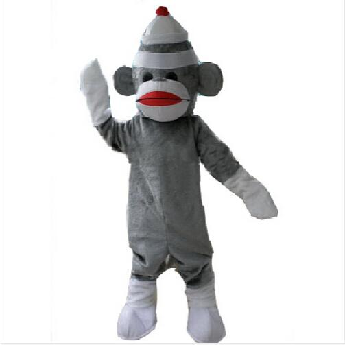 2019 Fashion Lively Blue Sock Monkey Mascot Costume Mascotte Little Monkey With Big Red Mouth White Sock Hands Adult No.1887 Free Shipping Novelty & Special Use