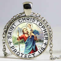 Saint Christopher pendant Necklace Patron of Travelers pendant San Cristoforo Prayer choker necklace gift for family