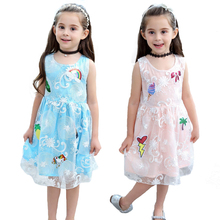 купить 2-7y Girls Custom Princess Dress Luxury Kids Pink Lace Dress Children Evening Cute Dresses Girls Floral Party And Wedding Dress онлайн