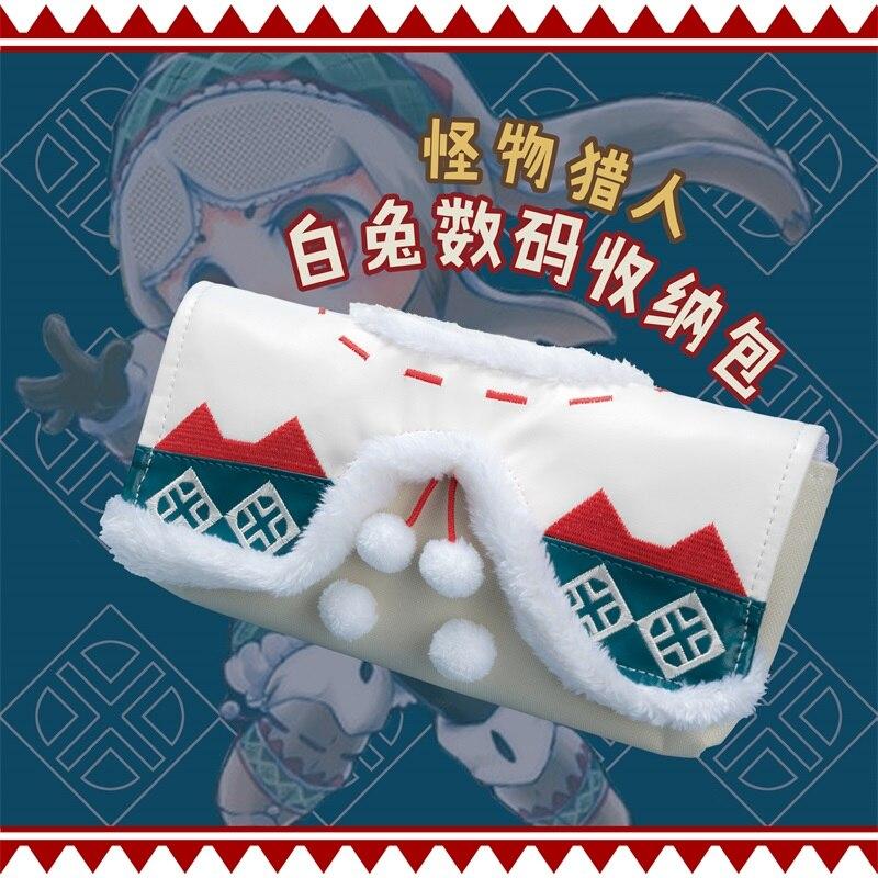 Jeu d'anime monstre chasseur Urukusus mallette de rangement housse pour Nintendo Switch 3DS PSV sac mignon lapin en peluche Portable sac à main