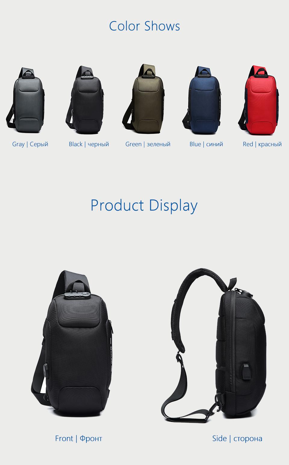 OZUKO 2019 New Multifunction Crossbody Bag for Men Anti-theft Shoulder Messenger Bags Male Waterproof Short Trip Chest Bag Pack 11