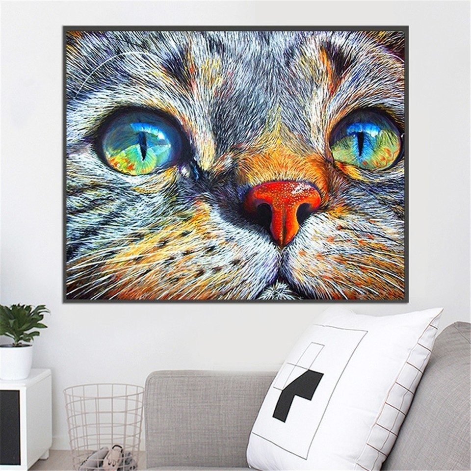 AZQSD 5d Diamond Painting Cat Animal Pictures Of Rhinestones Diamond Mosaic Full Display Home Decoration Needlework Handmade in Diamond Painting Cross Stitch from Home Garden