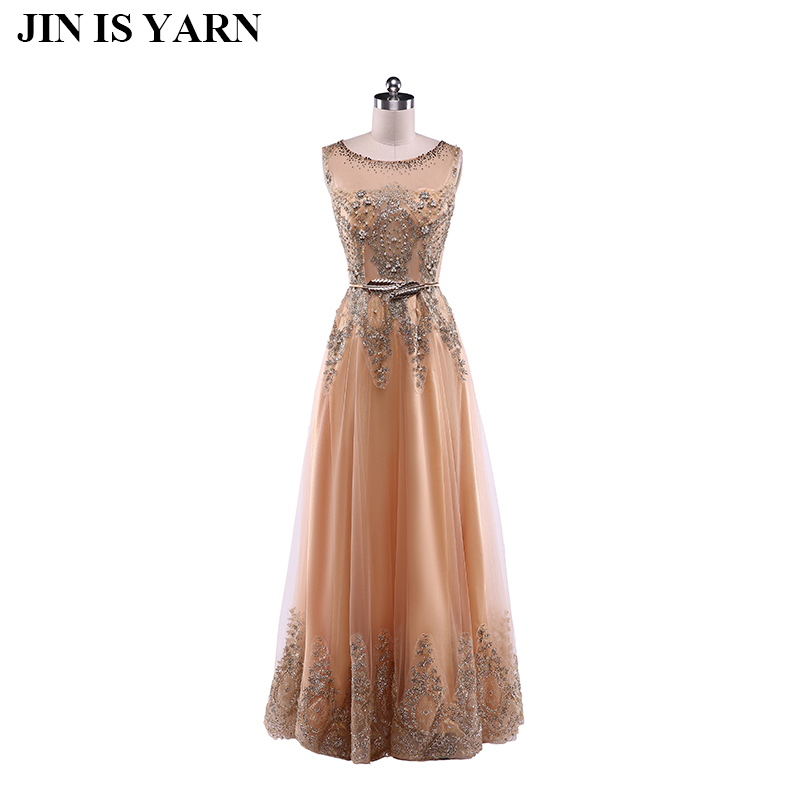 The new 2017 champagne lace cultivate one s morality elegant wedding long dress