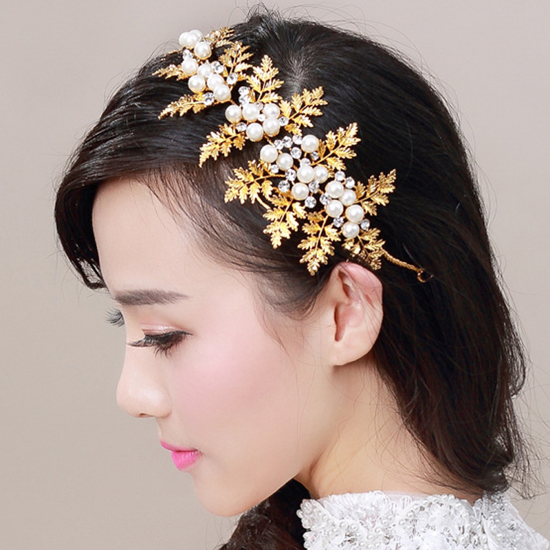 Vintage Crystal Headdress Bridal Hair Accessories Gold