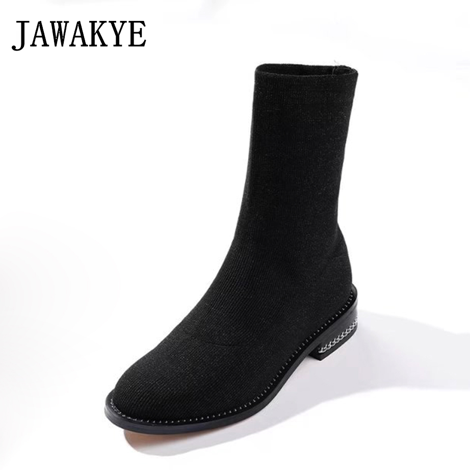 Black Knitted Flat Sock Ankle Boots Female Round toe Square Low heel with Chain Elastic ladies short boots Ankle boots for women степлер ручной rapid r13 fineline rus 5000057