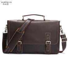 YUPINXUAN Laptop Briefcases for Men Vintage Crazy Horse Leather Crossbody Bags Male Business Briefcase Retro Hombre Bolso Chile