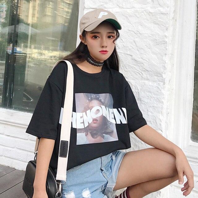 2018 Summer Harajuku Wind Bf Hong Kong Vintage Retro Loose Short Sleeved T Shirt Female Korean Tide Students Clothes by Zeongro