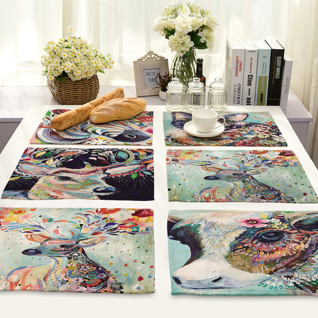 CAMMITEVER Colorful Cat Zebra Bird Deer Animal Dinner Mat Kitchen Impressive Accessories For Dining Room