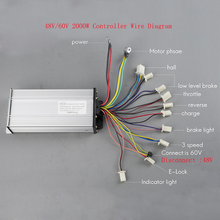Sidofo Electric High Quality 2000W 60V Ebike brushless Motor Controller 15 Mosfet Electric Bike Bicycle BLDC Reverse 3 Speed
