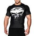 2017 camisa compressão 3d punisher crânio capitão américa superman t shirt calças de fitness camisas casual clothing marca mma