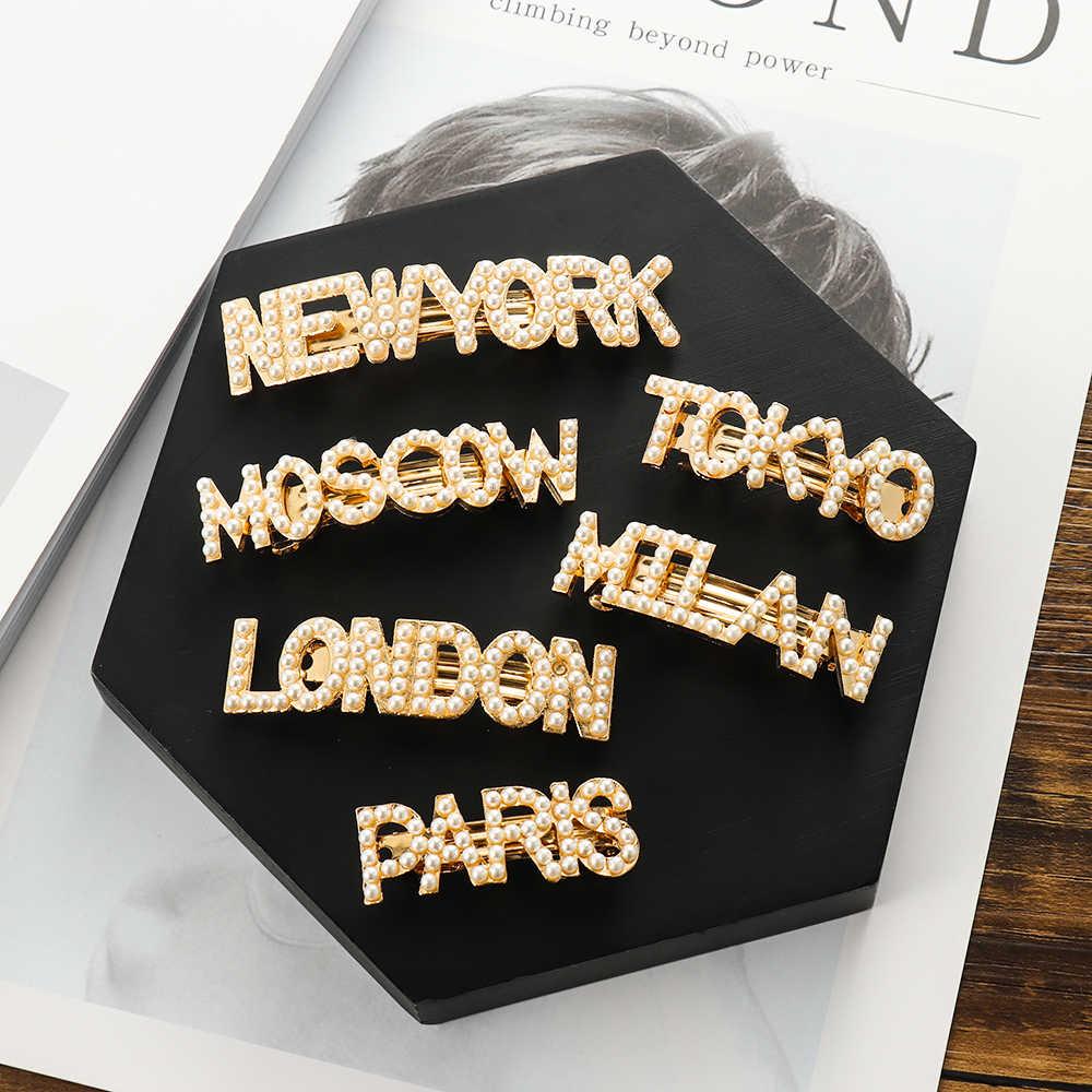 Жемчужные заколки для волос заколка для волос, Нью-Йорк Токио заколка для волос Paris London Заколки для волос заколки Для женщин аксессуары для волос заколки для волос с жемчугом