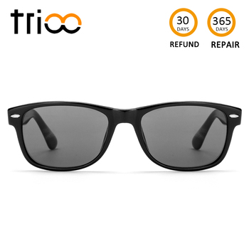 TRIOO Driving Prescription Glasses Black Square Graduate Unisex Sunglasses Myopia Nearsighted Shades UV Block Eyeglasses Tint