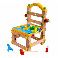 Free shipping Kids Disassembly and Assembly Chair Toys, Baby wooden multi-function Blocks , children Blocks scale models toys