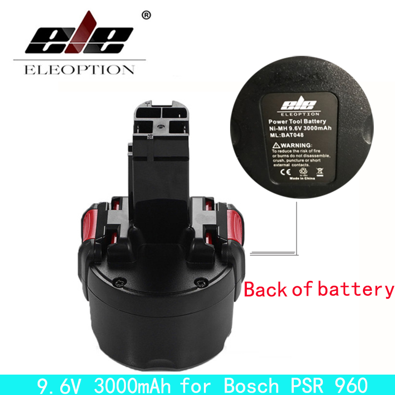 ELEOPTION BAT048 9.6V 3000mAh Ni-MH Rechargeable Battery for Bosch PSR 960 2 607 335 272 32609-RT BPT1041 new 24v ni mh 3 0ah replacement rechargeable power tool battery for bosch bat299 bat240 2 607 335 637 bat030 bat031 gkg24v