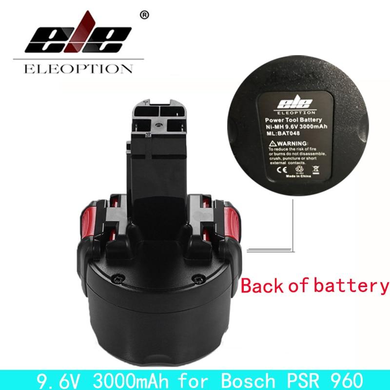 ELEOPTION BAT048 9.6V 3000mAh Ni-MH Rechargeable Battery for Bosch PSR 960 2 607 335 272 32609-RT BPT1041 1 pc new 9 6v 2000mah replacement battery for bosch bh984 psr gsr 9 6 bat048 bpt1041 bat100 vhg17 t50