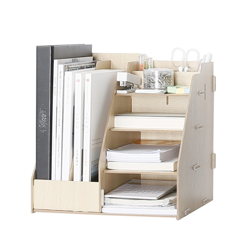 Wooden Multi Use Desk Organizer Office Sundries Storage Box Colorful Modern Style File Racks Eco Natural