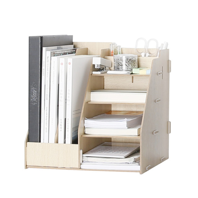 Wooden Multi Use Desk Organizer Office Sundries Storage Box Colorful Modern  Style File Racks Eco