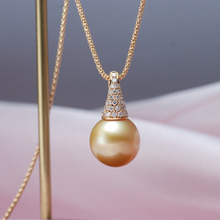 Sinya Golden pearl pendant Real diamonds 18K Au750 gold necklace with 60cm corn chainsfor women ladies high luster Hot