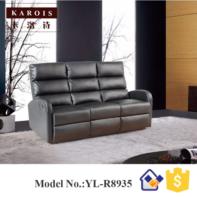 Dubai Modern Leather Living Room Furniture 3 Seat Recliner Sofa