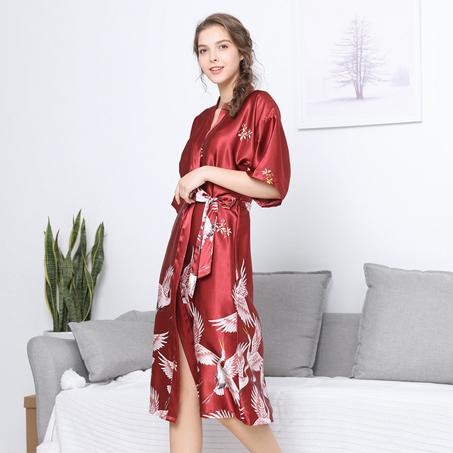 Plus Size 3XL Chinese Women s Satin Nightgown Long Robe Gown New Style  Kimono Bathrobe Sexy Floral Night Dress Sleepwea 6ac182d218