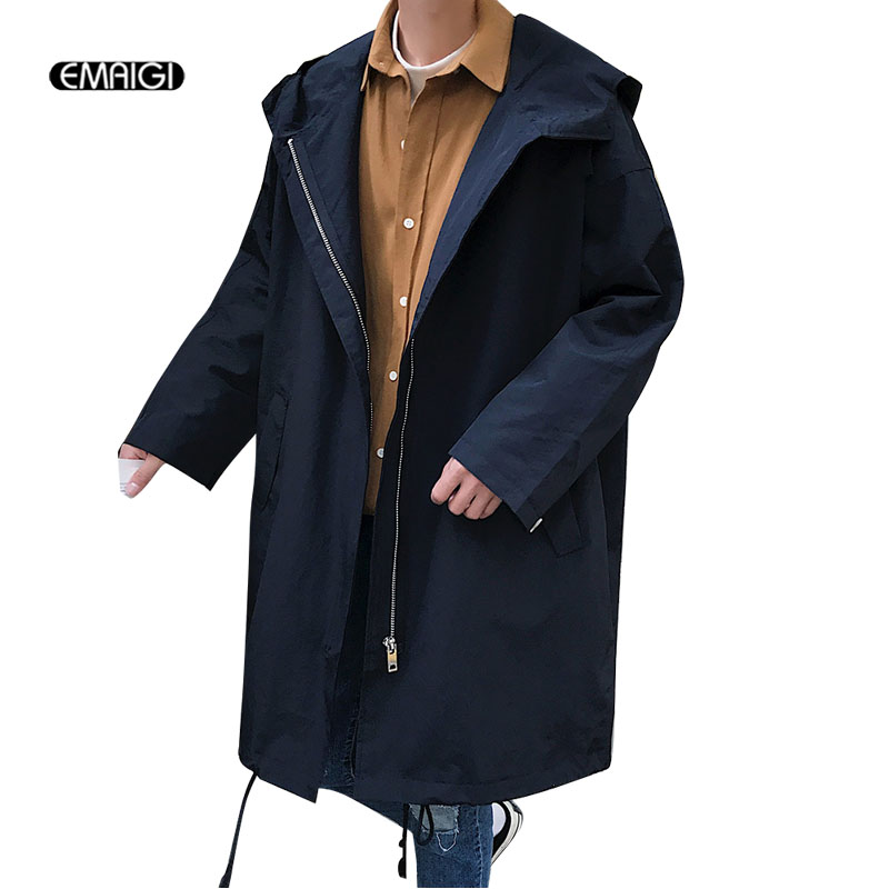 Men Autumn New Hooded   Trench   Coat Male Women Couple Loose Thin Cardigan Long Jacket Outerwear