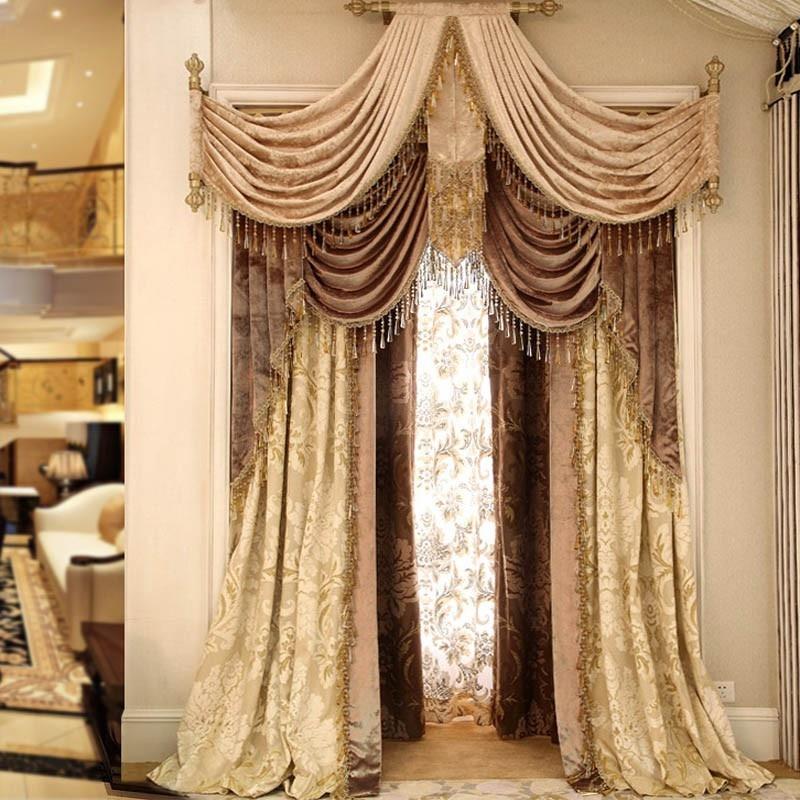 Extremly luxury curtains for living room bedroom Velvet Custom Valance curtain Luxury window curtain