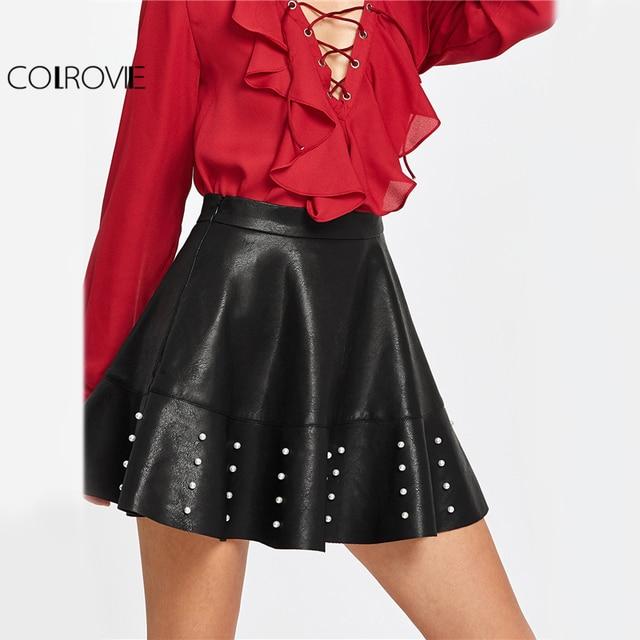 0588f49d2c520 COLROVIE PU Leather Flared Mini Skirt Women Pearl Embellished Black Cute  Skirts Autumn Zip Side High