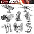 Star wars c3po asamblea diy modelos 3d puzzles de metal bb-8 millennium falcon x-wing combatiente edificio modelo de robot juguetes regalos del cabrito