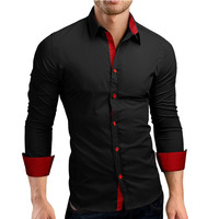 Men Shirt Brand 2017 Male High Quality Long Sleeve Shirts Casual Hit Color Slim Fit Black