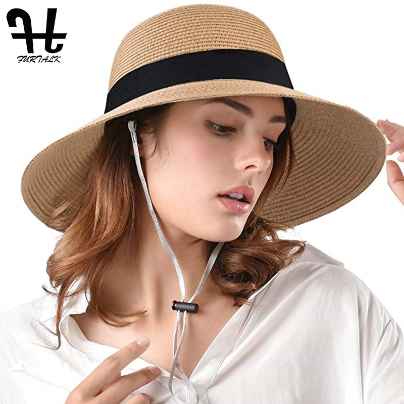 FURTALK Summer Hat For Women Straw Hat Wide Brim Beach Bucket Sun Hat Sun Protection Cap With Bow Tie 2019