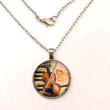 YSDLJG Violin Musical Instrument Jewelry Necklace Glass Dome Pendant Mens Womens cabochon jewelry