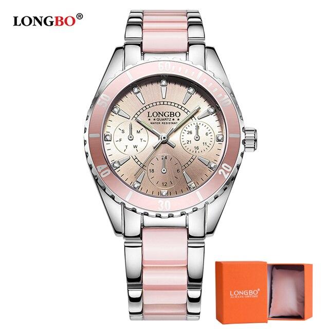 2018 marca LONGBO de reloj de moda de lujo de las mujeres de cerámica y de aleación de pulsera reloj analógico Relogio femenino Montre reloj