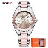 20192 LONGBO marque Montre de mode femmes de luxe en céramique et alliage Bracelet analogique Montre-Bracelet Relogio Feminino Montre Relogio horloge