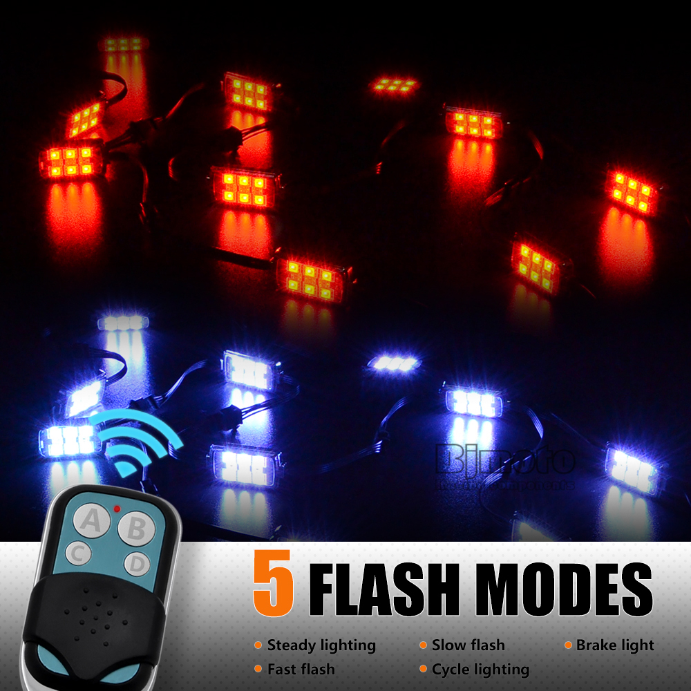5pcs/Set  RGB Rock Music Lights 60 LED Wireless Remote Control Motorcycle Accent Neon Style Light Kit Free Shipping 2 4g wireless control 360 rgb color neon glow interior underdash foot accent ambient light for mitsubishi carisma 1995 2004