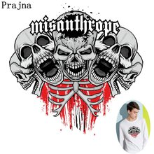 Prajna Hot Iron Heat Transfer Skull Patches For Clothes Punk Style Thermal On Vinyl Applique Wholesale Washable