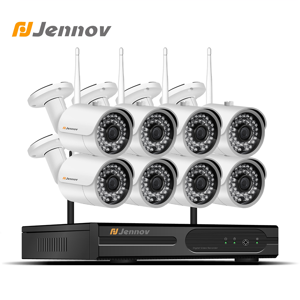 Jennov 2MP 8CH Wireless Security Camera System NVR Wifi Video Surveillance Kit CCTV System 1080P P2P HD Outdoor IP Camera IP66 full hd 8ch 1080p wireless nvr cctv system 2mp 1080p wifi ip camera waterproof day night security camera video surveillance kit