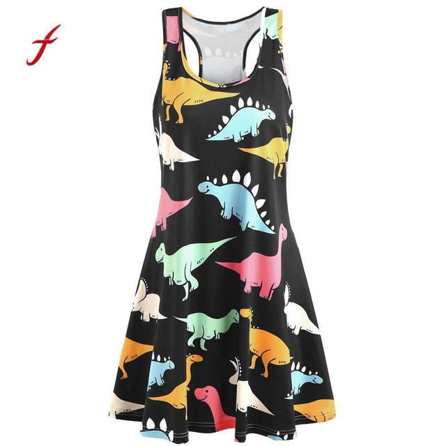 46fa2ace8b Feitong sexy dress Women Sleeveless Ladies Beach Dress women Printed  Dinosaur Tunic Tank mini summer Dress vestido plus size