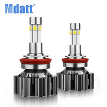 Mdatt 2pcs H4 LED hi-lo mini projector lens headlight for car clear beam pattern 12V цена