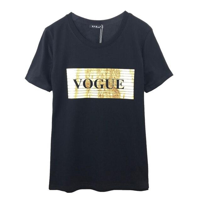 1f298dcf5 Black & White Rock Clothing t shirt women VOGUE Golden Print T-shirt Short  Sleeve