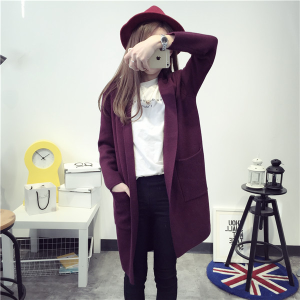 Winter New Long Knitted Scarf Collar Sweater Cardigan