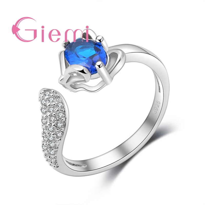 Lovely Sweet Fox Charms Rings for Women Girls Fine 925 Sterling Silver with Sparkling Cubic Zircon Stone Opening Resizable