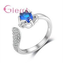 Lovely Sweet Fox Charms Rings for Women Girls Fine 925 Sterling Silver with Sparkling Cubic Zircon Stone Opening Resizable(China)