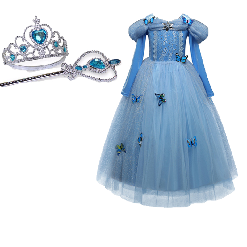 New Baby Girl Anna Elsa <font><b>Dress</b></font> High-Grade Sequined <font><b>Princess</b></font> Cinderella Fancy kids clothes For <font><b>Party</b></font> Costume Snow Queen Cosplay image
