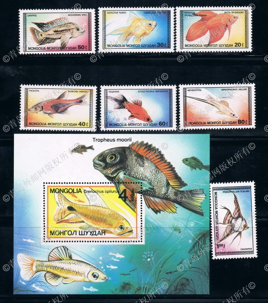 ME0140 Mongolia 1987 7 + M new 0812 ornamental goldfish stamps forget me not 7